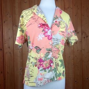 Vintage Vibrant Floral Hawaiian Button Up Blouse M